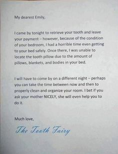 tooth fairy letter good idea could be used for anything you want to teach