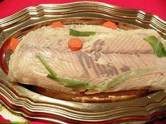 Saumon en Bellevue cuit au court-bouillon