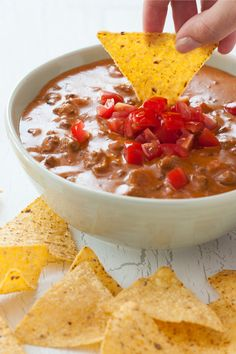 This easy Chili Cheese Dip is a tasty game day appetizer with only 4 ingredients.