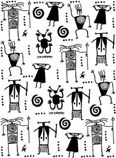 Petroglyph Warriors Background Unmounted Rubber Stamp