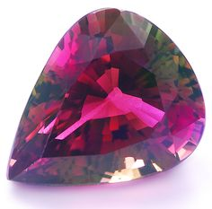 Gorgeous 13 carats Bi-Color Tourmaline in pear shape from Tanzania.