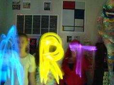 Art of Apex High School, drawing with glowsticks