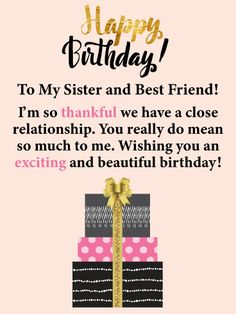 Decorative birthday presents and a special golden bow will remind your sister that her special day has arri. Happy Birthday Elder Sister, Birthday Caption For Sister, Birthday Greetings For Sister, Happy Birthday Best Friend, Friend Birthday Quotes, Happy Birthday Wishes Quotes, Happy Birthday Cards, Birthday Presents, Younger Sister Birthday Quotes