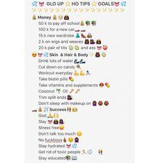 Hoe tips | Glo up | Goals | Money | Girls Pinterest: @sheliseBB ✨✨✨✨✨✨✨✨
