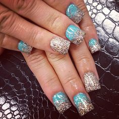 This would be cool with non glitter polishes, the silver and sky blue look nice together.