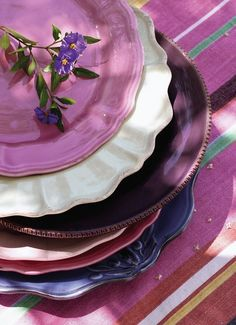 A beautiful stack of purple plates