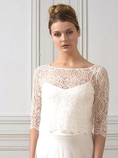 Bolero aus Spitze. Lace, Tops, Women, Fashion, Moda, Women's, La Mode, Shell Tops, Racing