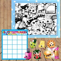 Throw A Simple Shopkins Birthday Party 9th Birthday Parties, Birthday Games, Slumber Parties, Happy Birthday, Fete Shopkins, Shopkins Printable, Bingo Set, Party Printables, Party Time