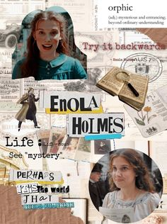 Movie Collage, Collage Book, Bullet Journal Films, Enola Holmes, She Is Gorgeous, Millie Bobby Brown, Bullet Journal Inspiration, Book Fandoms, Book Journal