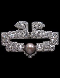 An Edwardian platinum, diamond and natural pearl brooch. #Edwardian