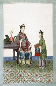 old illustrations of chinese servants