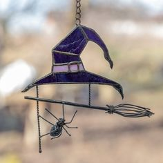 Horror decor Witch hat stained glass window hangings Halloween   Etsy Stained Glass Birds, Stained Glass Projects, Stained Glass Patterns, Stained Glass Windows, Terrariums, Ukraine, L'art Du Vitrail, Spectrum Glass, Witch Cottage