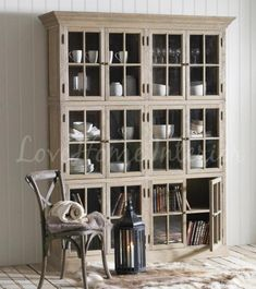 Fashion Antique Oak Solid Wood Glass Door Large Display Cabinet A00091