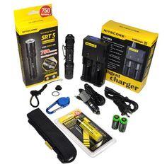 Nitecore SRT5 Detective (Black) 750 Lumens XM-L2 T6 LED Variable brightness Flashlight/searchlight, Red/Blue secondary strobe with Genuine Nitecore NL186 18650 2600mAh Li-ion rechargeable battery, Nitecore i2 intelligent Charger, Smith & Wesson LED CaraBeamer Clip Light and 2 X EdisonBright CR123A Batteries Nitecore http://www.amazon.com/dp/B00E4WHCS8/ref=cm_sw_r_pi_dp_CN2Rtb0DVGET5PVE