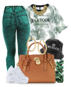 """Green Leaves."" by livelifefreelyy ❤ liked on Polyvore featuring H&M, Milly, Michael Kors, NIKE and ASOS"