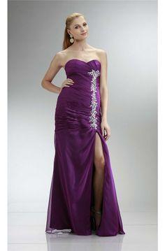 Sexy Strapless High Slit Long Purple Chiffon Beaded Prom Dress