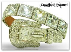 ATLAS BELT Rhinestone Trim Clear Crystal Square Concho with Silver Crystal Buckle on White Hair on Hide Leather Belt