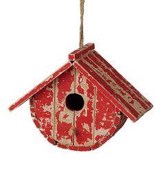 Another great find on #zulily! Red Round Distressed Birdhouse #zulilyfinds