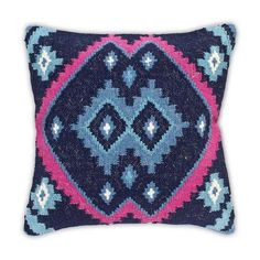 Kilim Decorative Pillow in Blue and Fuchsia ($90) ❤ liked on Polyvore featuring home, home decor, throw pillows, pillows, blue accent pillows, blue home accessories, blue toss pillows, kilim throw pillows and fuschia home decor