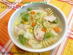 Chicken + Mixed Vegetable Noodle Soup.   A light (and extremely easy) homemade version of the traditional chicken noodle. #FitFluential