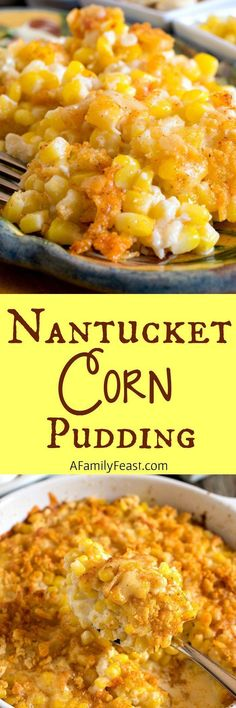 Nantucket Corn Pudding - A creamy corn casserole topped with a buttery, cheesy cracker crust. Nantucket Corn Pudding - A creamy corn casserole topped with a buttery, cheesy cracker crust. Corn Recipes, Side Dish Recipes, Veggie Recipes, Cooking Recipes, Recipies, Recipes Dinner, Dinner Ideas, Pumpkin Recipes, Dessert Recipes