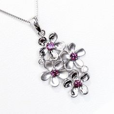 http://rubies.work/0929-emerald-pendant/ Lovely 18ct White Gold floral Natural Ruby and Diamond necklac