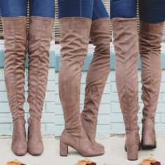 Taupe Faux Suede Square Toe Over the Knee Boots Billy-H