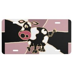 Funny Cow Art Front License Plate