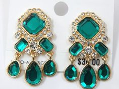Charter Club Gold Tone Green Crystal Dangle CLIP-ON Earrings NWT #CharterClub #Danglechandelier