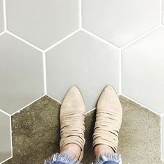 Tile game strong thanks to my insanely talented husband! Grey hexagons transitioning into concrete never looked so good! // @allenandra for @orangecrestcommunitychurch