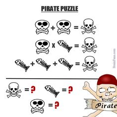 Brain teaser - Number And Math Puzzle - hard pirate puzzle - Solve these picture mathematical equations. Three pictures need numbers. Riddles Logic, Logic Math, Math Jokes, Maths Algebra, Math Test, Maths Puzzles, Easy Math, Simple Math, Fun Math