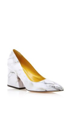 Marble printed calf leather vendome pumps by CHARLOTTE OLYMPIA Now Available on Moda Operandi