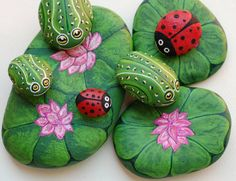 frog and lady stones and their leaf pads...
