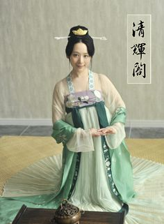 Authentic Chinese Hanfu(汉服) by Qinghuige(清辉阁). This style of hanfu is from Tang Dynasty. And this type is called ruqun(襦裙), see introduction of hanfu types.
