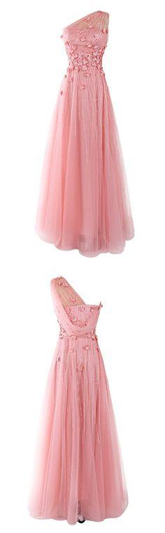 One Shoulder Beading Prom Dress,Long Prom Dresses,Charming Prom