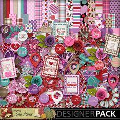 Two Fourteen Digital Scrapbook Kit, Valentine Scrapbook, Love Scrapbook, flairs, pink scrapbook, purple scrapbook, rosettes, map pointers, heart paper, valentines pattern paper, love scrapbook