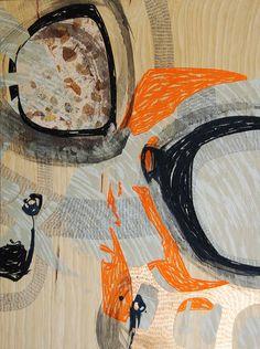 Steph Houstein: Bonescape 82, 2014, u/s, 56x76cm, silkscreen and mixed media on ply.