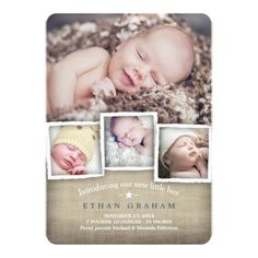 Sweet Country Burlap Baby Boy Birth Announcement