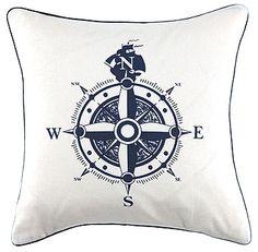 Gewebt Weiß Marine Kompass 40x40cm - Stoff & Stil