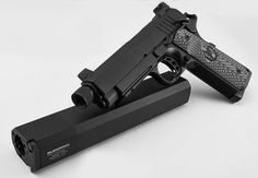 Nighthawk Custom 1911 Silent Hawk Handgun with SilencerCo Osprey Cal 8 Round Magazine Revolver, 1911 Pistol, Survival Weapons, Survival Tools, Shooting Guns, Shooting Range, Best Handguns, Custom 1911, Lethal Weapon