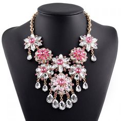 $10.75 Graceful Rhinestone Faux Crystal Floral Water Drop Necklace For Women