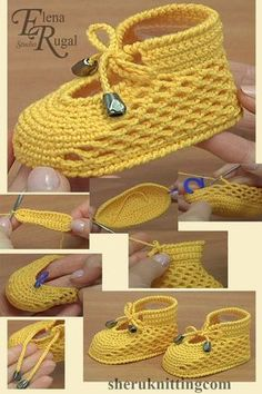 In this video you will see how to make beautiful cute crochet shoes for baby. We begin the work from the sole then continue with the upper part. Yarn: 55 cotton 45 acrylic, 160 m in 50 grams. Crochet hook: mm or mm. Crochet Baby Boots, Booties Crochet, Crochet Baby Clothes, Crochet Slippers, Cute Crochet, Crochet Hats, Beautiful Crochet, Kids Crochet, Crochet Summer