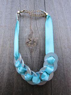 Upcycled Washer Hardware Bracelet with Sea Blue by hardlyExpected