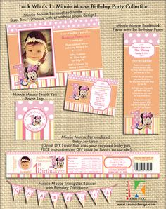 Look Who's 1 - Minnie Mouse Birthday Party Collection ~ Kroma Design Studio | Today's Party Ideas