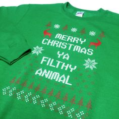 YA-FILTHY-ANIMAL-Ugly-Sweater-Funny-santa-Merry-Christmas-Xmas-GREEN-SWEATSHIRT