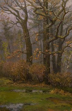 Poet Tree in Rain by Mary Pettis Oil ~ 30' x 20'