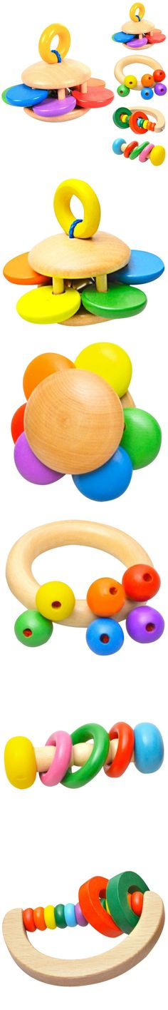 Unisex Kids Classic Bell Rattle Wooden Musical Educational Toy Baby Handbell Rattles 4 Types 2016 New $2.76