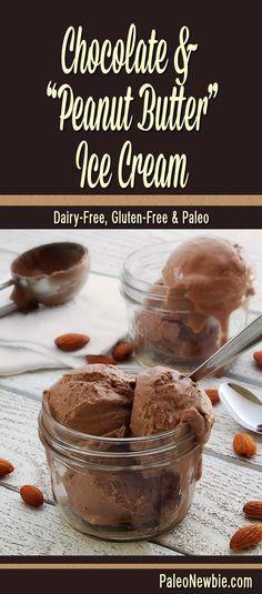 "Paleo Chocolate & ""Peanut Butter"" Ice Cream - Get that irresistible ""chocolate & peanut butter"" taste you love in a non-dairy paleo ice cream…almond nut butter is the key! #paleo #dairyfree #grainfree #glutenfree"