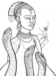 Ilomba, african myth, snake woman with ant, horror coloring book digital print page