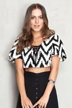 cropped zig zag manga babado | Dress to